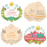 Stylish Vintage floral label with butterflies,bees,sun.Hellow su. Stylish floral  label  set with colored flowers, plants,ribbons,bees,sun,clouds  in Doodle Royalty Free Stock Photography