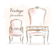 Stylish vintage furniture: dressing table with mirror and chairs. Sketch. Royalty Free Stock Photos