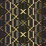 Stylish vintage geometric background with complex repeating structure of crossing golden lines on black background Royalty Free Stock Images