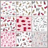Stylish vintage motive fashion seamless pattern pink cosmetics accessories vector illustration. Royalty Free Stock Photos