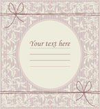 Stylish vintage oval frame with classic ornament, bows and place Royalty Free Stock Photos