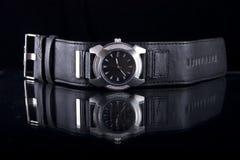Stylish watch. Closeup of stylish silver watch on black background stock photos
