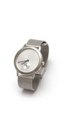 Stylish watch. An isolated fashionable silver watch Royalty Free Stock Photo