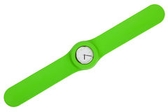 Stylish watch with a green plastic strap Stock Image