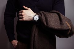 Stylish watch on a hand royalty free stock photo