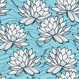Stylish water lily seamless ornament. Floral pattern on wave background. Textile swatch in trendy colors Stock Photo