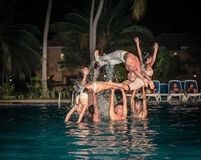 Stylish water show performed by a high passionate professional Cuban dancers Royalty Free Stock Photo