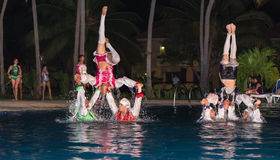 Stylish water show performed by a high passionate professional Cuban dancers Stock Photos