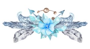 Fresh Tribal Vignette Wild Forest Wreath Design Element royalty free stock photos