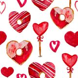 A stylish watercolor pattern for Valentine`s Day. Abstract composition of elements expressing love. The pattern is suitable for any background of romantic Stock Image