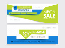 Stylish website header or banner set. Creative website header or banner set of Mega Sale with free shipping and 50% discount offer Royalty Free Stock Photos