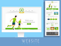 Stylish website template layout for sports concept. Stock Images