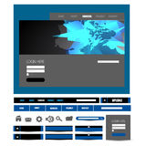 Stylish website template - portfolio layout with interface elements Royalty Free Stock Photo