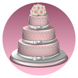 A stylish wedding cake. Cake decorated with flowers and a bride and groom toppers Stock Photo
