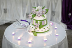Stylish Wedding Cake. On the table Stock Image
