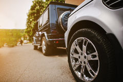 Stylish wedding cortege of cars, close up wheels Stock Photography