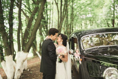 Stylish wedding couple, bride, groom kissing and hugging near retro car in autumn Royalty Free Stock Photos