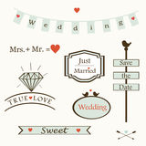 Stylish wedding elements and logos and labelsand  symbols, vector Royalty Free Stock Image