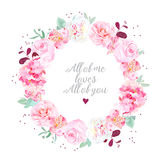 Stylish wedding flowers card with dots Royalty Free Stock Photos