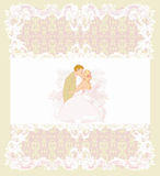 Stylish wedding invitation card with vintage ornament background Royalty Free Stock Images