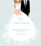 Stylish wedding invitation card with vintage ornament background royalty free illustration