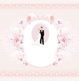 Stylish wedding invitation card with vintage ornament background Stock Photos