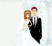 Stylish wedding invitation card with vintage ornament background Stock Photo