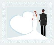 Stylish wedding invitation card with vintage ornament background Royalty Free Stock Photos