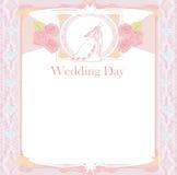 Stylish wedding invitation card with vintage ornament vector illustration
