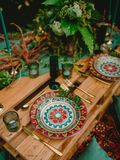 Stylish wedding table with decor, candles, dishes and floristic. Wedding. Dinner stock photos