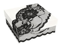 Stylish white gift box, decorated with exquisite black lace ribbon Stock Image