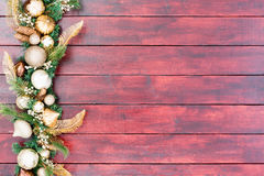 Stylish white and gold Christmas border Royalty Free Stock Images