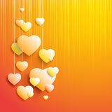Stylish white heart. Over orange background. Vector illustration, contains transparencies Royalty Free Stock Photography