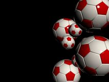 Stylish white red soccer balls Royalty Free Stock Photos