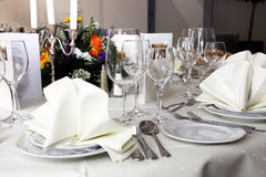 Stylish white table setting Royalty Free Stock Image