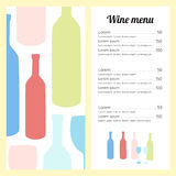 Stylish wine list template. Minimalistic. Colored silhouettes of bottles and glasses Royalty Free Stock Photo