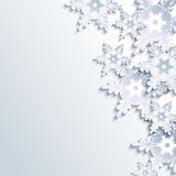 Stylish winter background, abstract 3d snowflake. Stylish creative gray background with abstract 3d snowflake. Trendy winter wallpaper with white and grey ornate Royalty Free Stock Photo