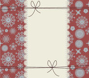 Stylish winter cover with snowflakes. Cute lace frame on red background Royalty Free Stock Photo