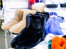Women`s fur boots Stock Photo