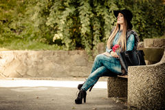 Stylish woman on air Stock Photography