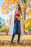Stylish woman in autumn fashion Royalty Free Stock Image