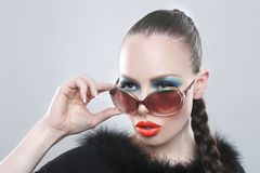Stylish Woman With Beauty Makeup and Sunglasses. Sexy Stylish Woman With Beauty Makeup and Sunglasses Stock Photos