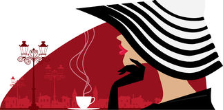 Stylish woman in a big hat at cafe. Vector illustration of a woman in a big striped hat at cafe, old town in background Royalty Free Illustration