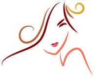 Stylish woman. Brush stroke line art stylish woman face image vector illustration
