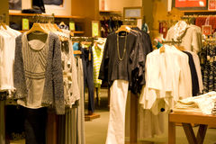 Stylish woman clothing in store Royalty Free Stock Photos