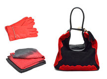 Stylish woman coral bag, gloves and a scarf Royalty Free Stock Image