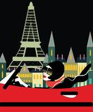 Woman in red car at the Eiffel tower vector illustration