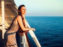 Stylish woman on an empty deck stock photos
