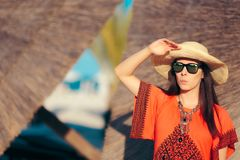 Tourist Girl Wearing Fashion Sunglasses in Summer Holiday Stock Photos
