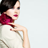 Stylish Woman Fashion Model. Bright Makeup, Healthy Skin and Hai. R Royalty Free Stock Images